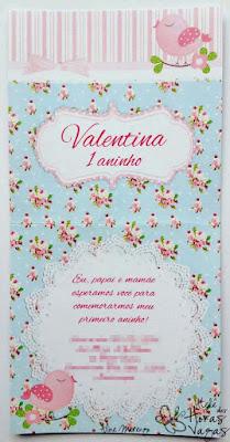 convite artesanal aniversário infantil floral azul provençal delicado jardim encantado passarinho