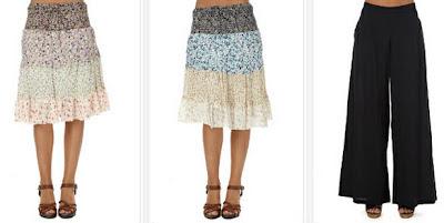 Faldas estampadas estilo Hippie y pantalón de campana