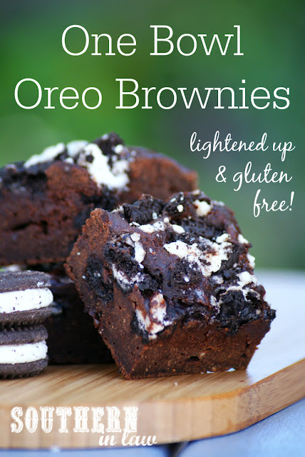 Lightened Up One Bowl Oreo Brownies Recipe - gluten free, healthy, low fat, low sugar, low calories, healthier brownie recipes, gluten free oreo brownies, dairy free