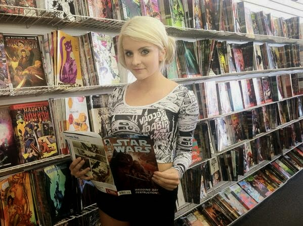 Cosplayer At Comic Shop