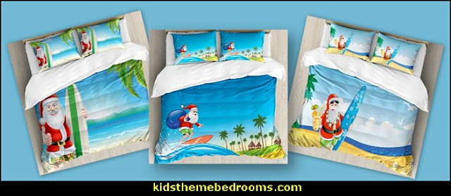 Christmas Santa on Beach bedding coastal christmas