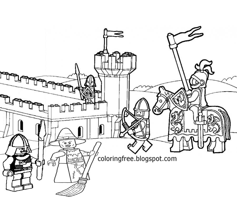 Brick Stronghold Tower Minifigure Knights Dark Ages Medieval Men Lego Castle Coloring Pages For Fun