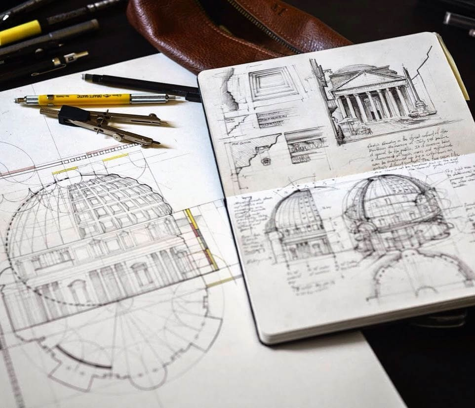 08-The-Pantheon-Jerome-Tryon-Moleskine-Book-with-Sketches-and-Notes-www-designstack-co
