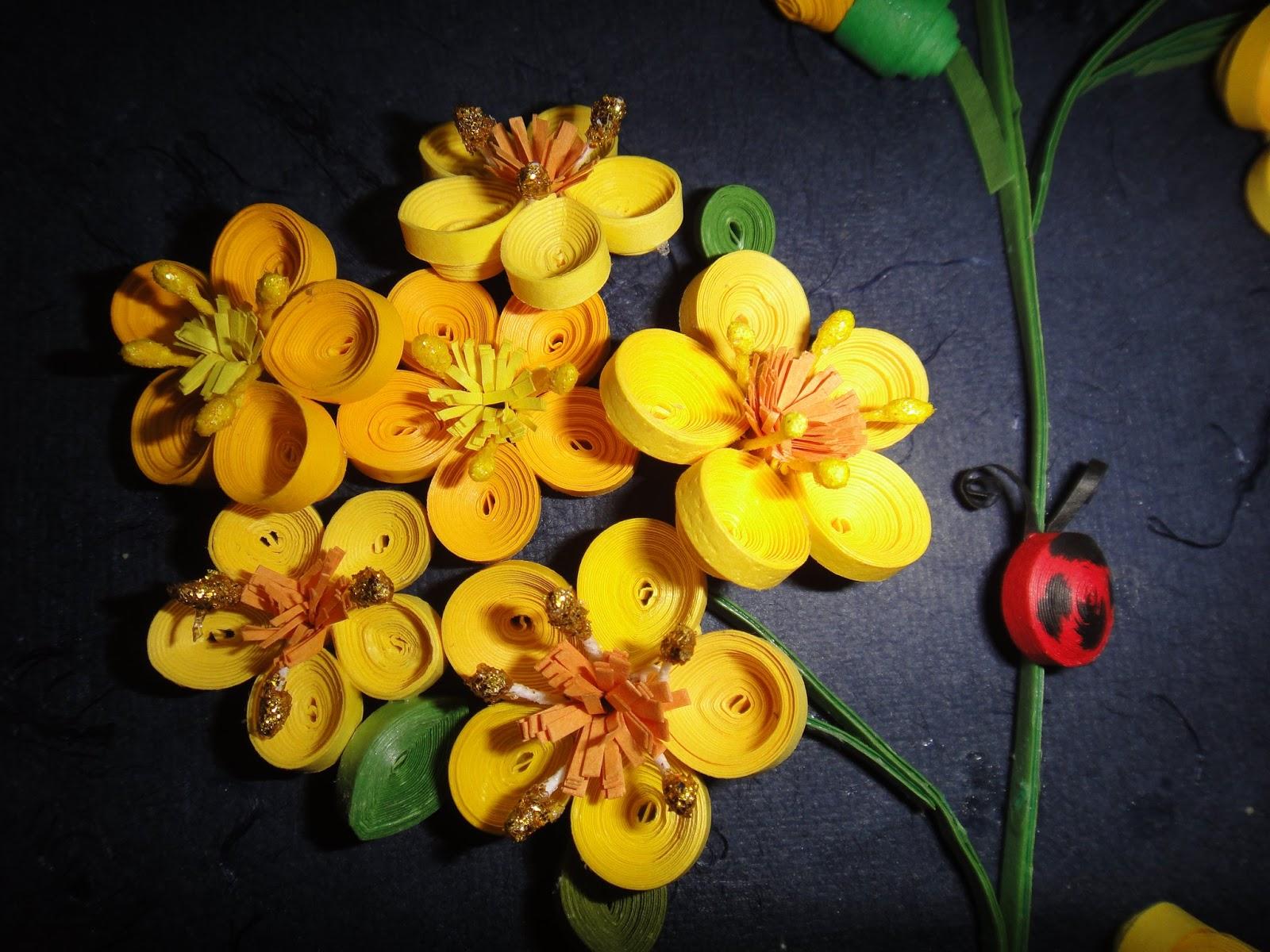 Wall frame - Paper Quilling Flower - Creative Art & Craft Work
