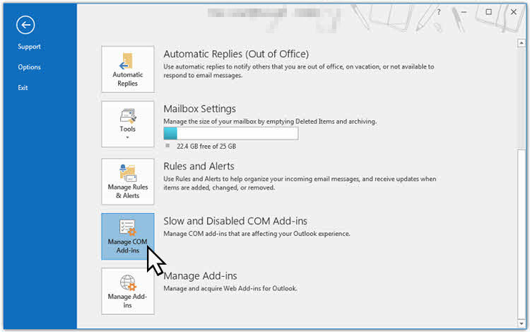 Here's how to navigate to Outlook's Slow and Disabled addin list