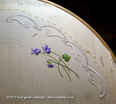 Society Silk Violets: more of the completed embroidered edge in white Japanese silk floss