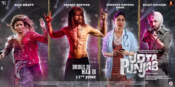 full cast and crew of bollywood movie Udta Punjab 2016 wiki, Shahid Kapoor, Alia Bhatt, Kareena Kapoor Khan, Diljit Dosanjh story, release date, Actress name poster, trailer, Photos, Wallapper