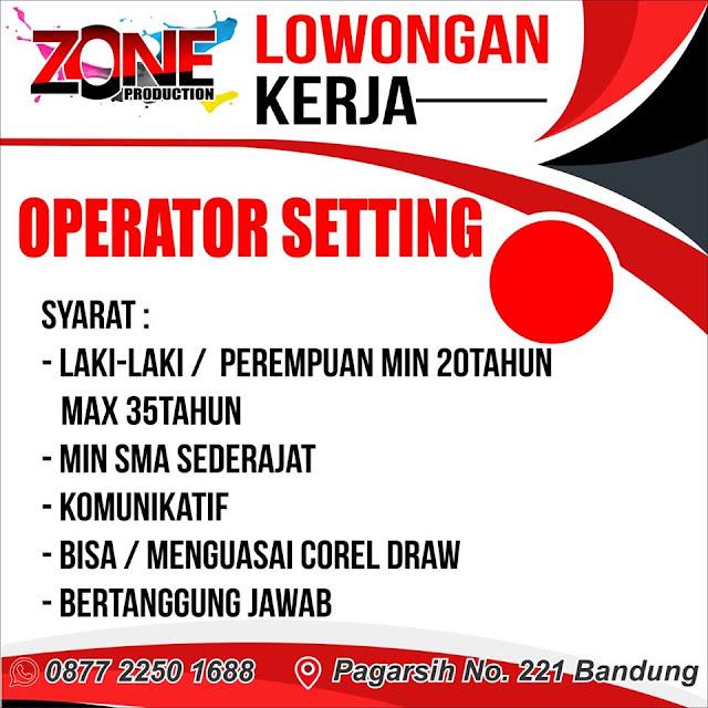 lowongan kerja operator setting zone bandung