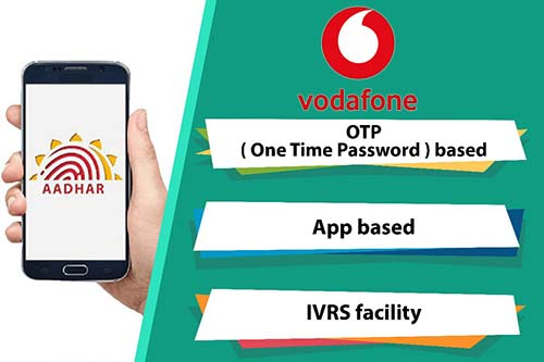 Link Aadhaar with Vodafone through OTP based, App based & IVRS Facility Methods