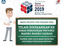 Pengumuman OSN SMA Tahun 2019 Tingkat Provinsi
