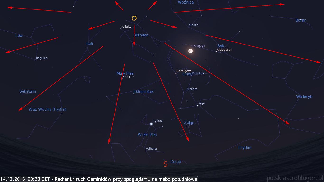 14.12.2016, godz. 00:30 CET - Radiant i możliwe tory Geminidów przy spoglądaniu obserwatora w kierunku południowym i okołozenitalnym