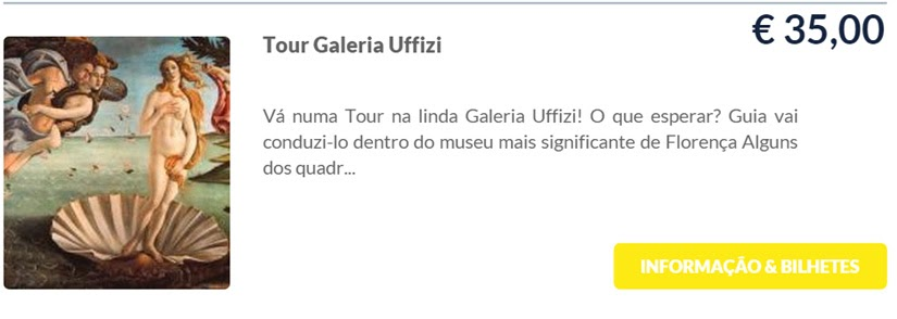 Ticket Galeria Uffizi - Florença - Itália - Ticket on line da TicketBar