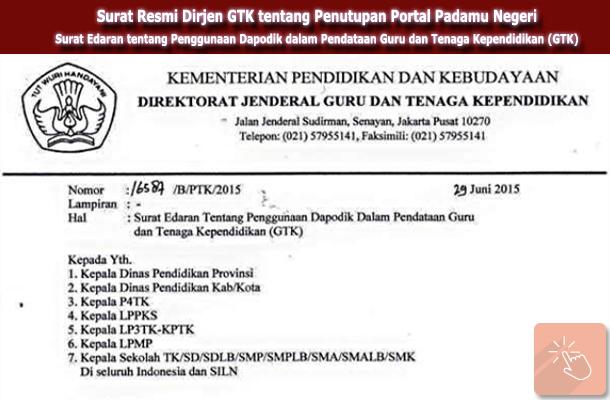 Surat Resmi Dirjen GTK tentang Penutupan Portal Padamu Negeri
