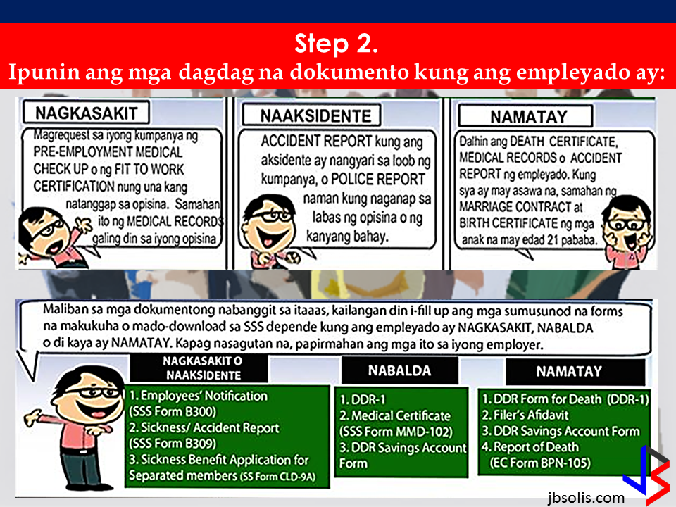 "If you know someone who is sick, had an accident  or relatives of an employee who died while on duty, you can help them and their families  by sharing them how to claim their benefits from the government through Employment Compensation Commission.  Here are the steps on claiming the Employee Compensation for private employees.        Step 1. Prepare the following documents:  Certificate of Employment- stating  the actual duties and responsibilities of the employee at the time of his sickness or accident.  EC Log Book- certified true copy of the page containing the particular sickness or accident that happened to the employee.  Medical Findings- should come from  the attending doctor the hospital where the employee was admitted.     Step 2. Gather the additional documents if the employee is;  1. Got sick: Request your company to provide  pre-employment medical check -up or  Fit-To-Work certification at the time that you first got hired . Also attach Medical Records from your company.  2. In case of accident: Provide an Accident report if the accident happened within the company or work premises. Police report if it happened outside the company premises (i.e. employee's residence etc.)  3 In case of Death:  Bring the Death Certificate, Medical Records and accident report of the employee. If married, bring the Marriage Certificate and the Birth Certificate of his children below 21 years of age.      FINAL ENTRY HERE, LINKS OTHERS   Step 3.  Gather all the requirements together and submit it to the nearest SSS office. Wait for the SSS decision,if approved, you will receive a notice and a cheque from the SSS. If denied, ask for a written denial letter from SSS and file a motion for reconsideration and submit it to the SSS Main office. In case that the motion is  not approved, write a letter of appeal and send it to ECC and wait for their decision.      Contact ECC Office at ECC Building, 355 Sen. Gil J. Puyat Ave, Makati, 1209 Metro ManilaPhone:(02) 899 4251 Recommended: NATIONAL PORTAL AND NATIONAL BROADBAND PLAN TO  SPEED UP INTERNET SERVICES IN THE PHILIPPINES In a Facebook post of Agriculture Secretary Manny Piñol, he said that after a presentation made by Dept. of Information and Communications Technology (DICT) Secretary Rodolfo Salalima, Pres. Duterte emphasized the need for faster communications in the country.Pres. Duterte earlier said he would like the Department of Information and Communications Technology (DICT) ""to develop a national broadband plan to accelerate the deployment of fiber optics cables and wireless technologies to improve internet speed."" As a response to the President's SONA statement, Salalima presented the  DICT's national broadband plan that aims to push for free WiFi access to more areas in the countryside.   Read more: http://www.jbsolis.com/2017/03/president-rodrigo-duterte-approved.html#ixzz4bC6eQr5N Good news to the Filipinos whose business and livelihood rely on good and fast internet connection such as stocks trading and online marketing. President Rodrigo Duterte  has already approved the establishment of  the National Government Portal and a National Broadband Plan during the 13th Cabinet Meeting in Malacañang today. In a facebook post of Agriculture Secretary Manny Piñol, he said that after a presentation made by Dept. of Information and Communications Technology (DICT) Secretary Rodolfo Salalima, Pres. Duterte emphasized the need for faster communications in the country. Pres. Duterte earlier said he would like the Department of Information and Communications Technology (DICT) ""to develop a national broadband plan to accelerate the deployment of fiber optics cables and wireless technologies to improve internet speed."" As a response to the President's SONA statement, Salalima presented the  DICT's national broadband plan that aims to push for free WiFi access to more areas in the countryside.  The broadband program has been in the work since former President Gloria Arroyo but due to allegations of corruption and illegality, Mrs. Arroyo cancelled the US$329 million National Broadband Network (NBN) deal with China's ZTE Corp.just 6 months after she signed it in April 2007.  Fast internet connection benefits not only those who are on internet business and online business but even our over 10 million OFWs around the world and their families in the Philippines. When the era of snail mails, voice tapes and telegram  and the internet age started, communications with their loved one back home can be much easier. But with the Philippines being at #43 on the latest internet speed ranks, something is telling us that improvement has to made.                RECOMMENDED  BEWARE OF SCAMMERS!  RELOCATING NAIA  THE HORROR AND TERROR OF BEING A HOUSEMAID IN SAUDI ARABIA  DUTERTE WARNING  NEW BAGGAGE RULES FOR DUBAI AIRPORT    HUGE FISH SIGHTINGS    NATIONWIDE SMOKING BAN SIGNED BY PRESIDENT DUTERTE In January, Health Secretary Paulyn Ubial said that President Duterte had asked her to draft the executive order similar to what had been implemented in Davao City when he was a mayor, it is the ""100% smoke-free environment in public places.""Today, a text message from Sec. Manny Piñol to ABS-CBN News confirmed that President Duterte will sign an Executive Order to ban smoking in public places as drafted by the Department of Health (DOH).  Read more: http://www.jbsolis.com/2017/03/executive-order-for-nationwide-smoking.html#ixzz4bC77ijSR   EMIRATES ID CAN NOW BE USED AS HEALTH INSURANCE CARD  TODAY'S NEWS THAT WILL REVIVE YOUR TRUST TO THE PHIL GOVERNMENT  BEWARE OF SCAMMERS!  RELOCATING NAIA  THE HORROR AND TERROR OF BEING A HOUSEMAID IN SAUDI ARABIA  DUTERTE WARNING  NEW BAGGAGE RULES FOR DUBAI AIRPORT    HUGE FISH SIGHTINGS"