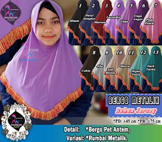 Jilbab bergo pet antem bahan jersey variasi rumbai metalik