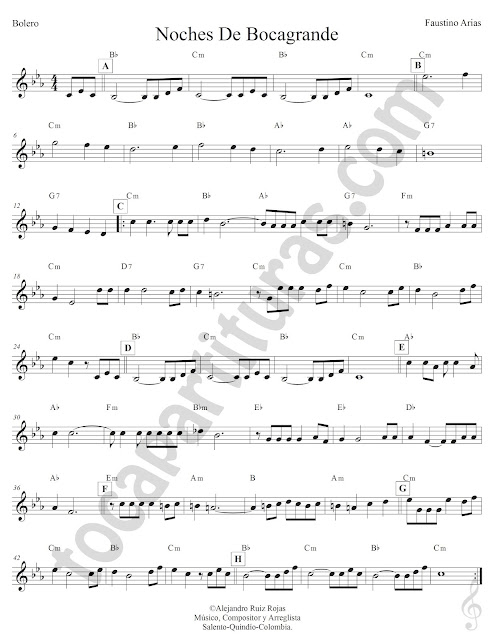 Noches de Bocagrande de Faustino Arias Partitura con Acordes Clave de Sol Noches de Bocagrande Sheet Music Treble Clef with Chords