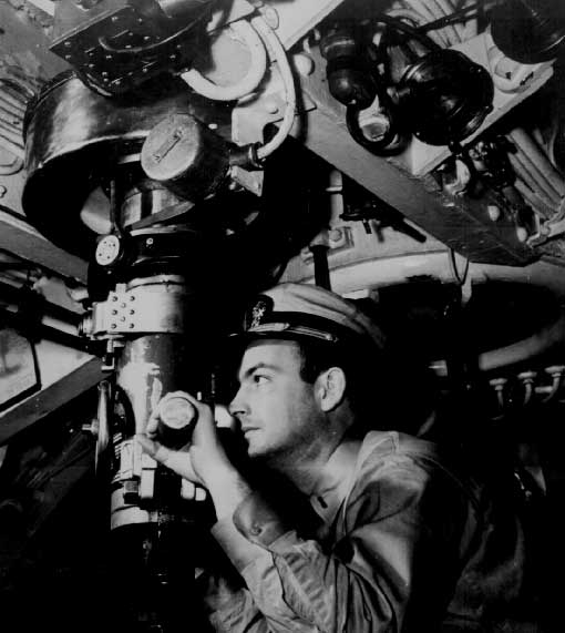 American officer at periscope of US submarine WW2