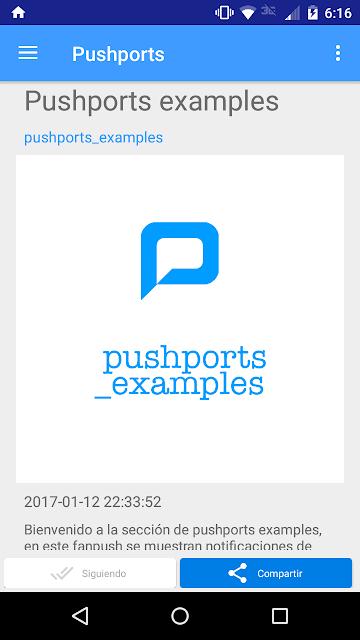Fanpush vista general pushports para android B 1.0.1