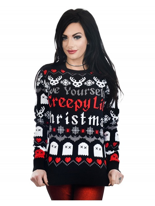 The spooky vegan wear these ugly christmas sweaters to scare your have yourself a creepy lil christmas sweater solutioingenieria Images