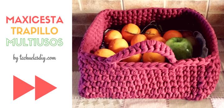 Aprende facilmente a crear una maxi cesta cuadrada de trapillo con un asa multiusos