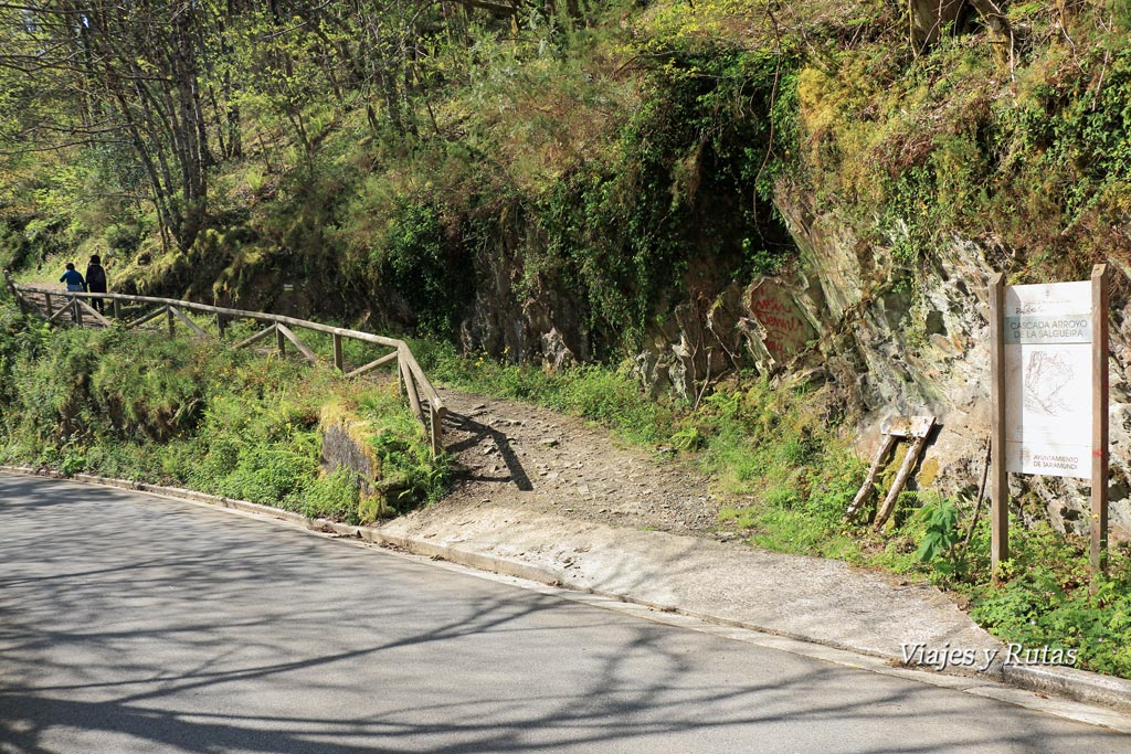Desvío a la Cascada Salgueira, Ruta del Agua, Taramundi, Asturias