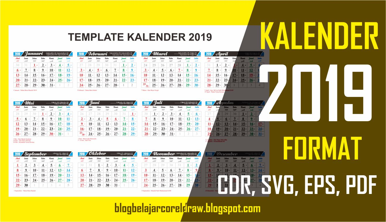 template kalender 2019 vector cdr gratis free download desain. Black Bedroom Furniture Sets. Home Design Ideas