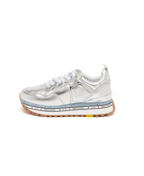 Pantofi sport dama piele naturala argintii de firma Liu Jo