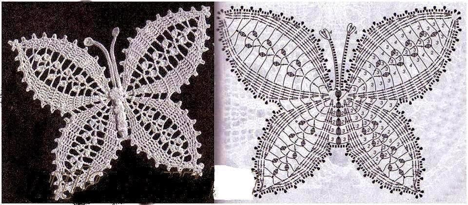 4 modelos de mariposas tejidas al crochet | Crochet y Dos agujas ...