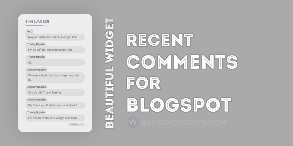 Tạo widget Recent Comment (bình luận mới) với thiết kế đẹp mắt cho Blogspot