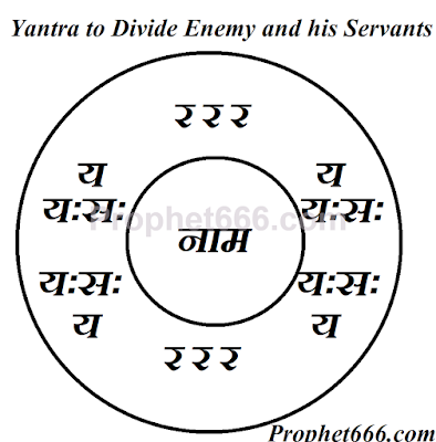 Videshan Yantra to Divide Enemy and his Sevaks