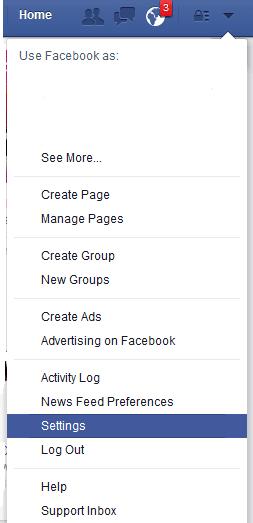 menu setting atau pengaturan facebook