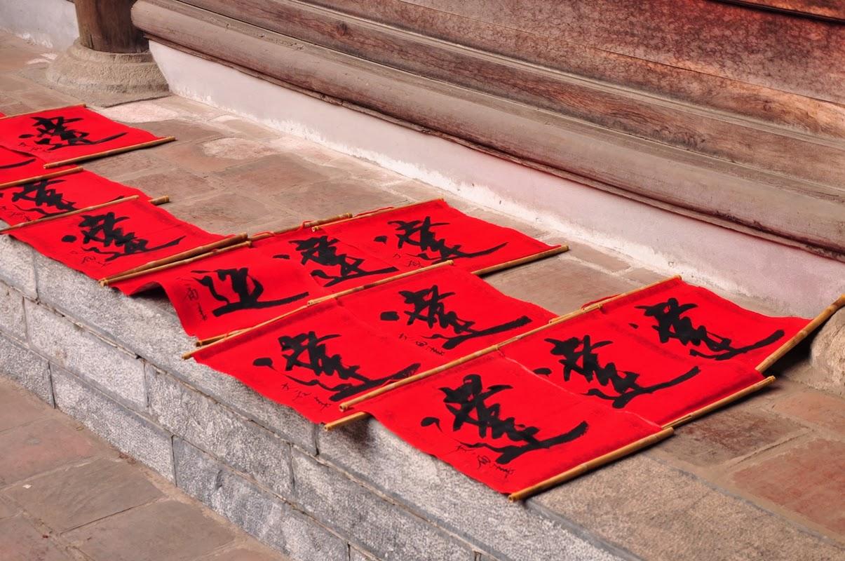 Zum Trocknen ausgelegte Kalligraphien, Literaturtempel, Hanoi