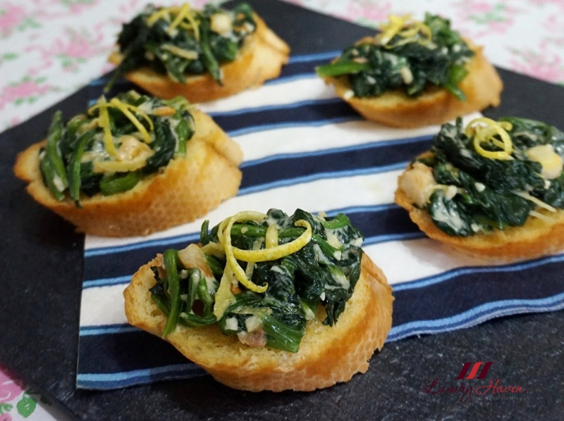 grilled spinach baguette emborg cooking cream recipe