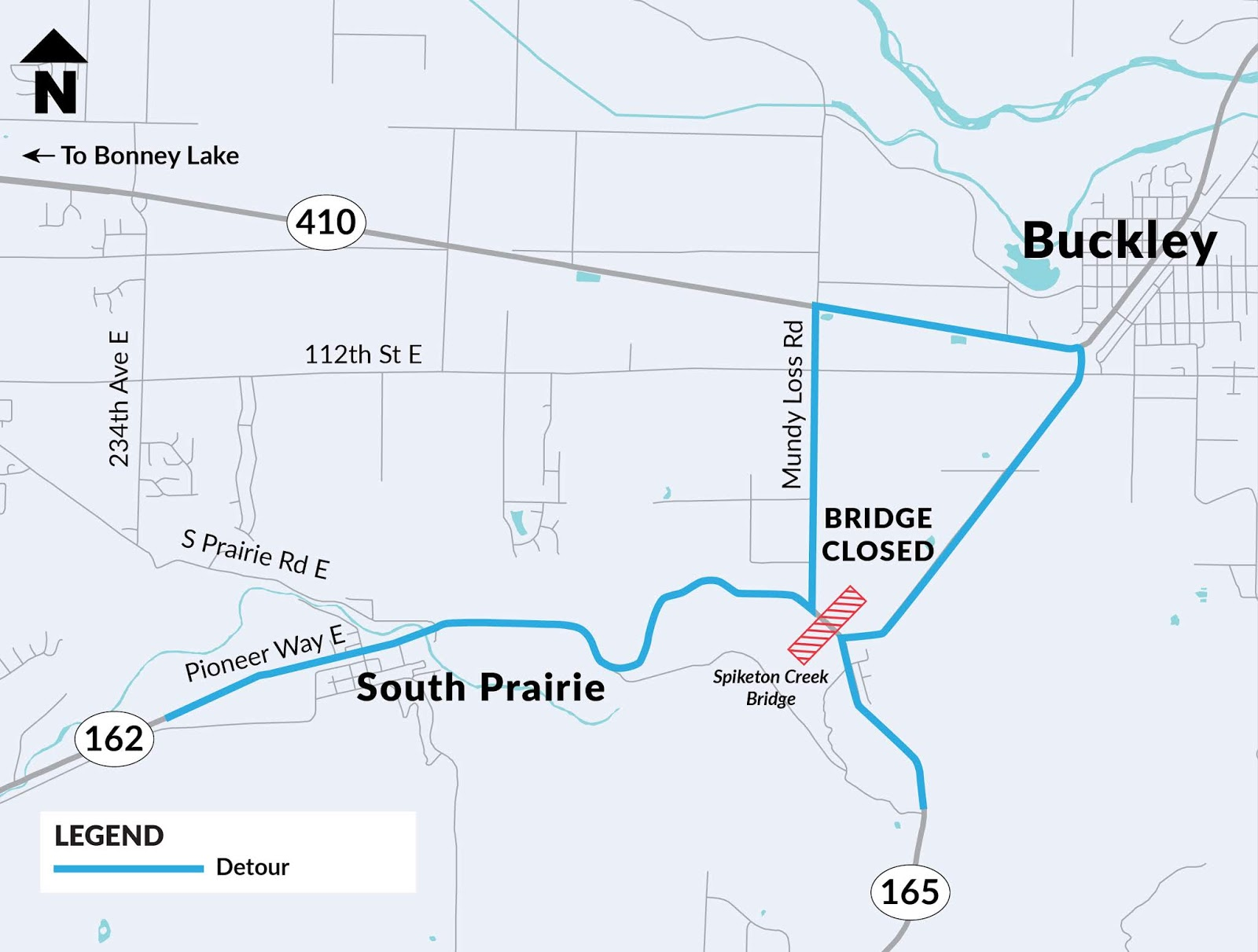 during the bridge closure a signed detour will be in place along pioneer way east to mundy loss road to sr 410 and back to sr 165