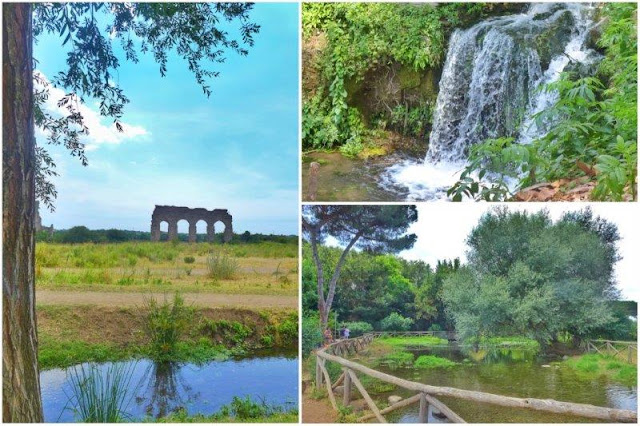 Acueducto en el Parco degli Acquedotti en Roma – Cascada - Laguito