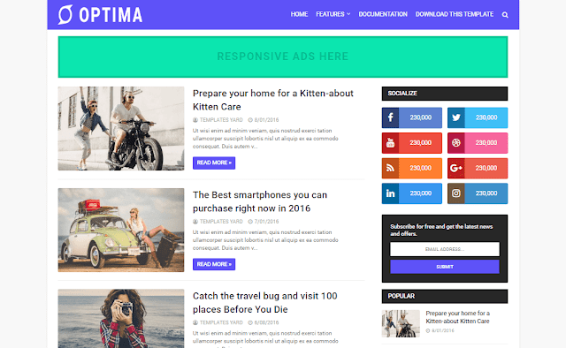 Download Free Premium Optima Seo Ready Blogger Template