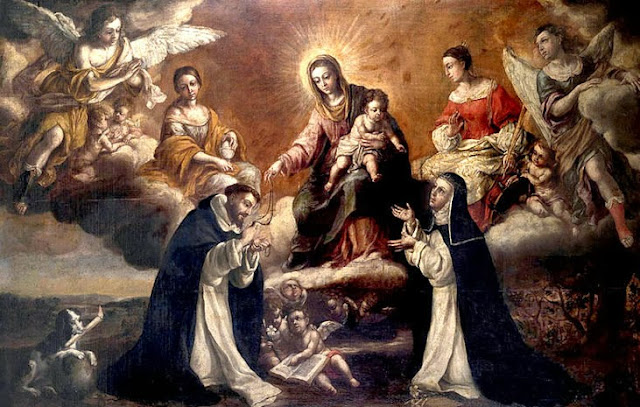 A painting of Our Lady giving the Rosary to St. Dominic