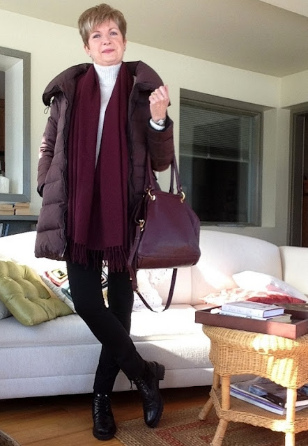 Cream wool mock turtleneck from Gap, Scarf Nordstrom, black wool leggings from Vince, black Stuart Weitzman Brogan ankle boots, Zara down coat, burgundy Marc Jacobs bag