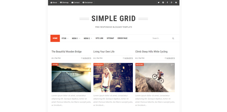 Simple Grid Blogger Template Download Free Blogspot Theme 2019