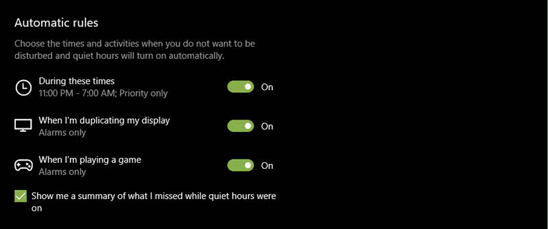 Automatic Rules set in Windows 10 Quiet Hours Settings
