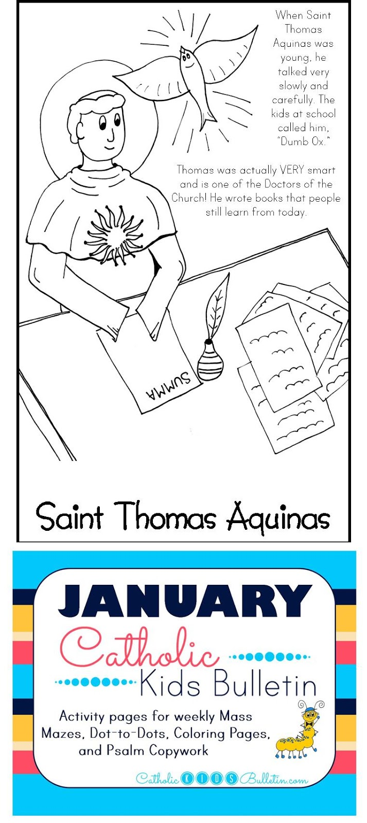 4 Saint Thomas Aquinas Coloring Page Catholic Kids Bulletin