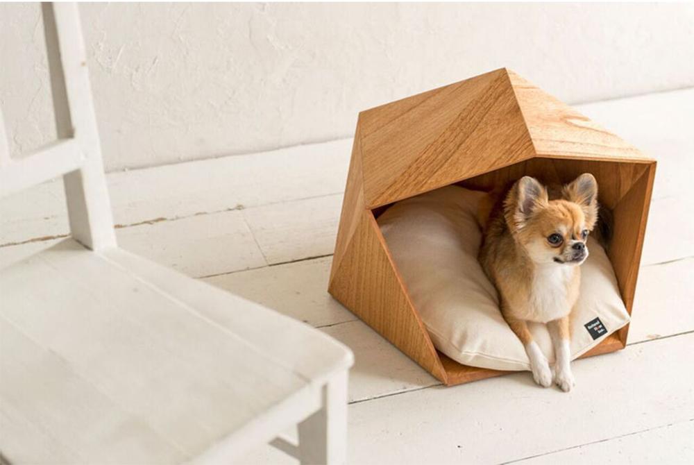 cuccia in legno geometrica cane design