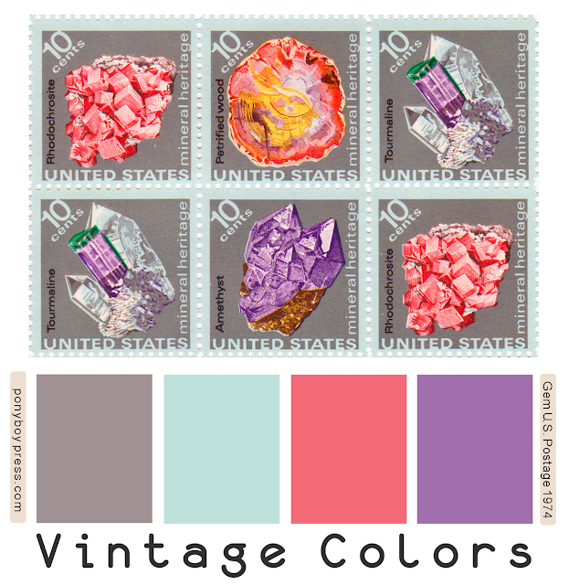 Vintage Color Palette - Gems U.S. Postage 1974 - see blog for hex codes - ponyboypress.com