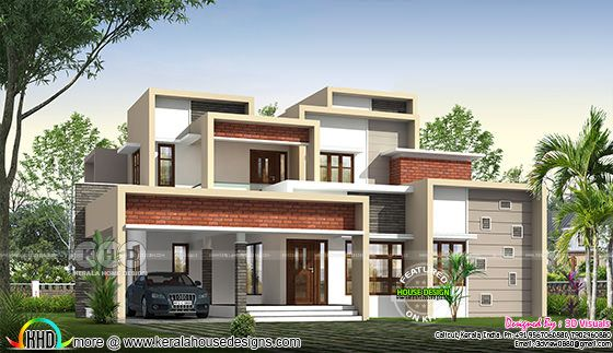 Box model contemporary house design with brick texture on wall