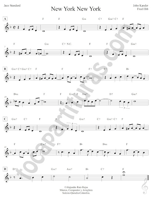 New York New York de John Kander y Fred Ebb Partitura Fácil con Acordes New York New York Easy Sheet Music with Chords