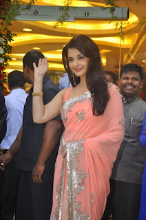 Aishwarya Rai Pink Saree See Off Pose