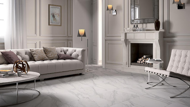 Italian porcelain tile for living room with I MARMI collection