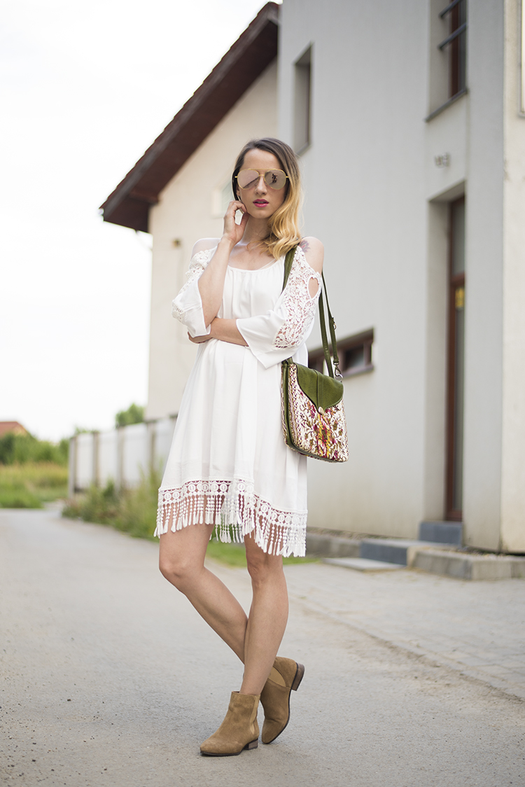 how to stretch back shrunken rayon garments White Open Shoulder Crochet Lace Sleeve Tassel Dress