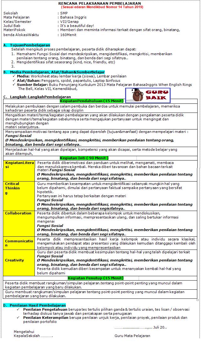 gambar contoh RPP 1 lembar bahasa inggris kelas 7 revisi 2020