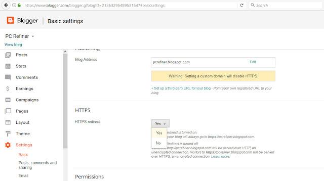 ssl certificate blogspot